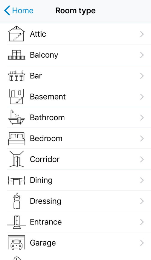 Room type selection screen in WiZ app.