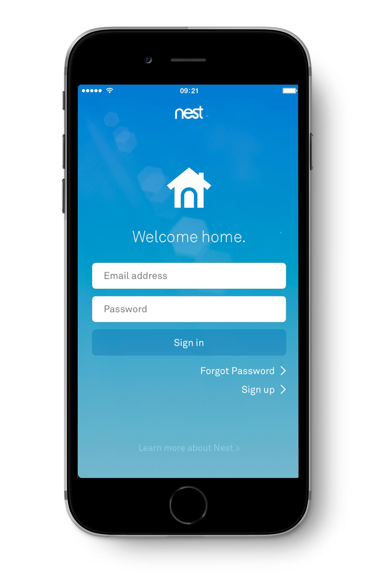 Nest app login screen.
