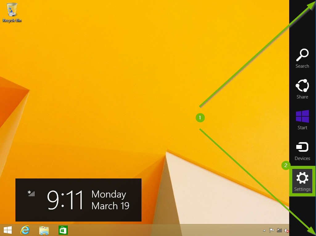 Arrows pointing to top right and bottom right corner of screen with the Settings icon highlighted.