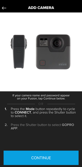Screenshot of the GoPro app displaying instructions on how to connect your GoPro Fusion to the app.