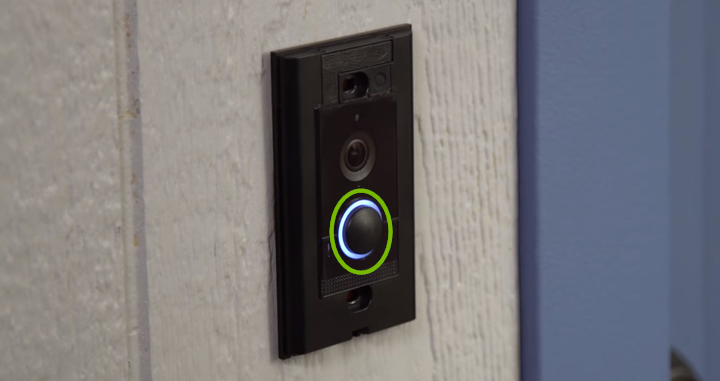 Ring light highlighted on front of Ring Video Doorbell Elite.