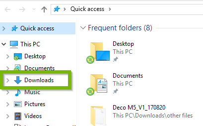 Explorer window with Downloads highlighted.