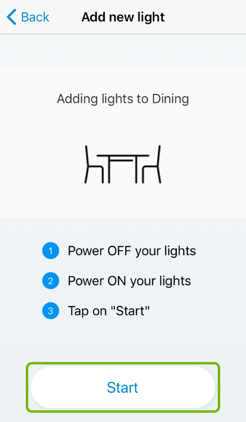 Start button highlighted in smart light setup of WiZ app.