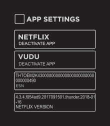 App Settings menu on Smart TV.