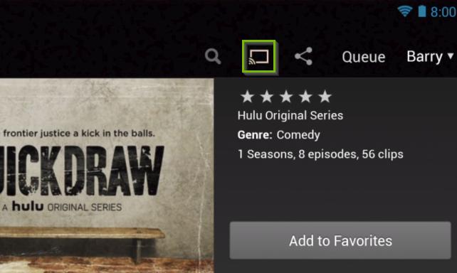 Hulu app highlighting the cast button.