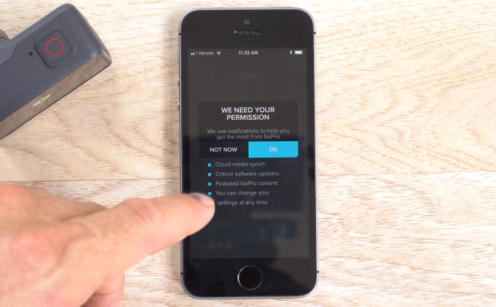 GoPro app prompting the user for permission to perform tasks on the smartphone.