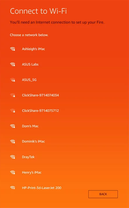 Wi-Fi connection screen of Amazon Fire tablet initial setup.