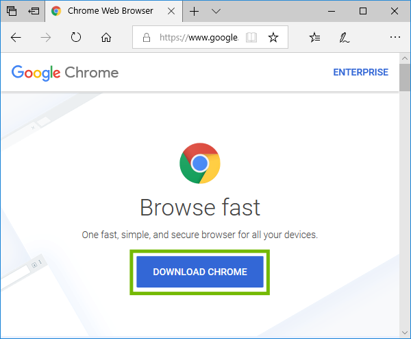 Chrome download page with Download Chrome highlighted.