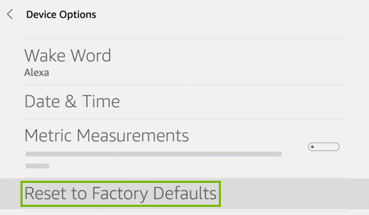 Reset to Factory Defaults option highlighted on Device Options screen