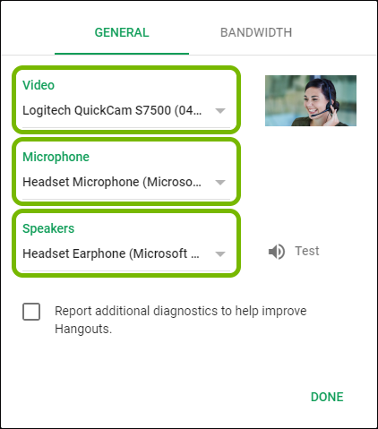 Camera, Microphone and Speakers selectors highlighted in Google Hangouts settings.