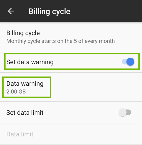 Billing cycle settings with Set data warning toggle and Data warning option highlighted.