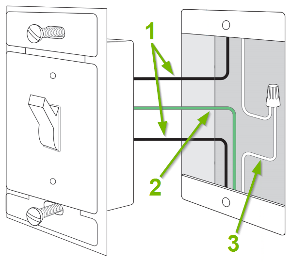 electrical wires pointed out and annotated for compatible light switch.