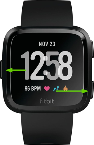 Fitbit versa with buttons selected