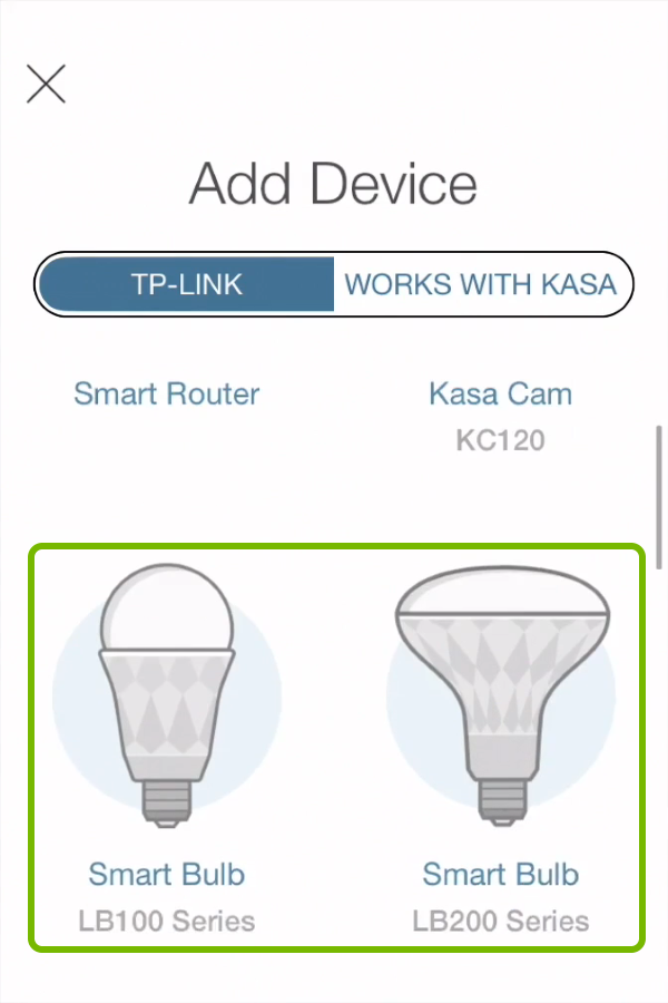 Smart Bulb types highlighted in device selection list of Kasa app.
