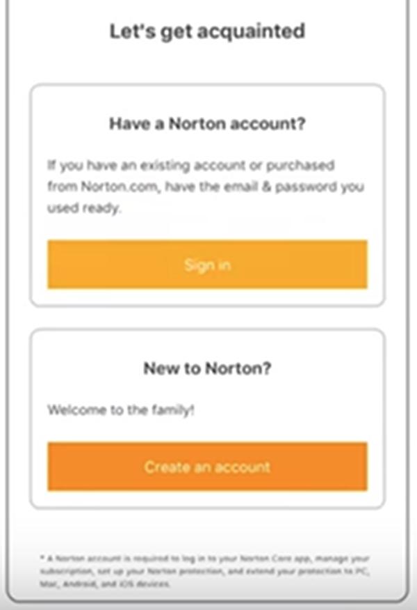 Norton Core requesting account information.