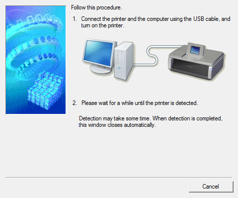 USB cable connection screen.