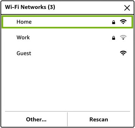 Wi-Fi network list with one network highlighted.