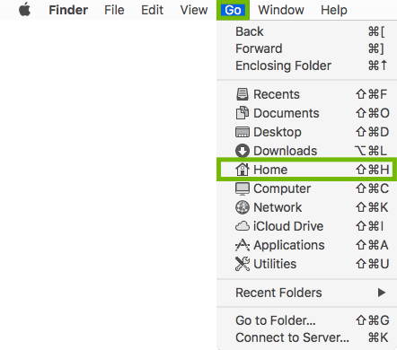 Finder Go menu with Home highlighted.