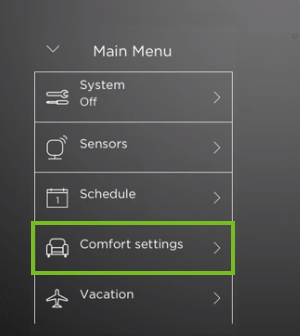 ecobee comfort settings menu