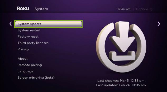 System update menu