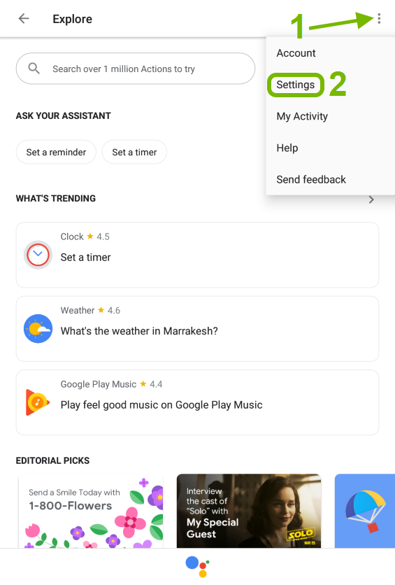 More pointed out and Settings highlighted in Google Assistant menu.
