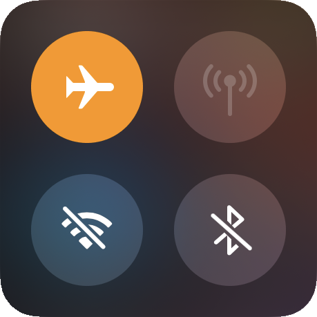 Airplane Mode turned on in iOS control center.
