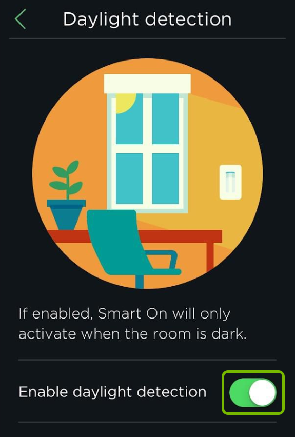 Toggle switch highlighted for Daylight detection option in ecobee app.