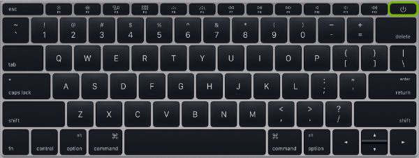 Standard keyboard with Power button highlighted