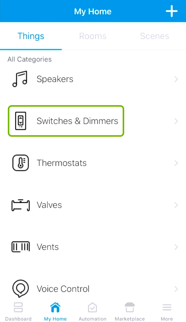 Switches & Dimmers category highlighted in SmartThings app.