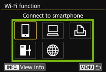 screen with different connection methods highlighted