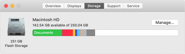 Drive space allotment in macOS.