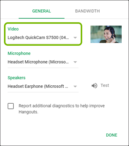 Camera selector highlighted in Google Hangouts settings.