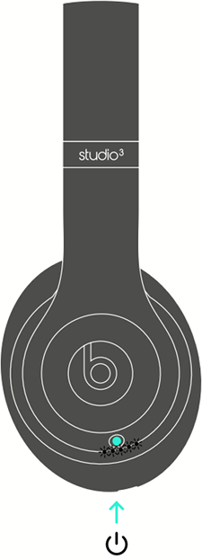 Diagram of headset with power button highlighted