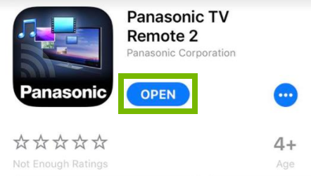 Panasonic TV Remote 2 app page with Open button highlighted