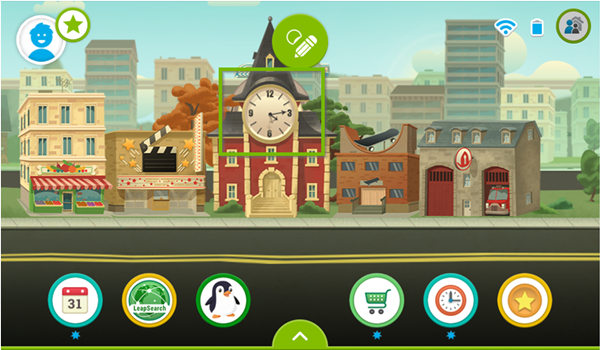 LeapFrog Epic's interface highlighting the clock icon.