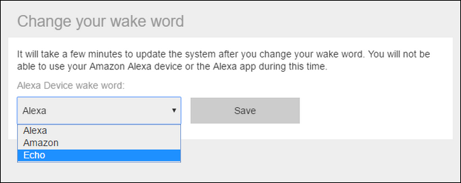 Amazon Alexa settings showing changing your wake word
