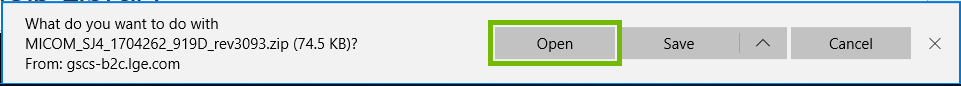 Edge file download prompt with Open highlighted.