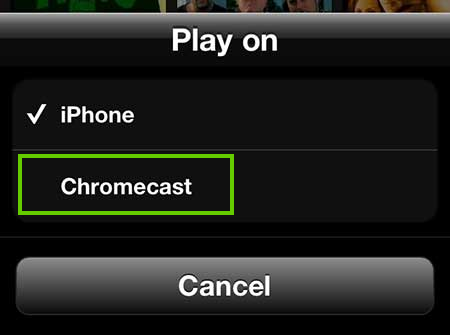 Chromecast casting selection