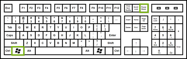 Keyboard with Windows and Pause keys highlighted.