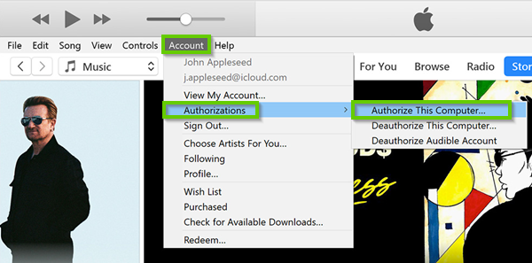 Authorizing a computer for iTunes
