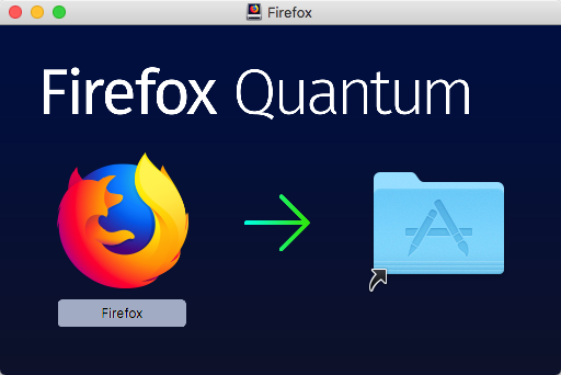 Firefox Disk Image showing Firefox App with arrow pointing to Applications shortcut.