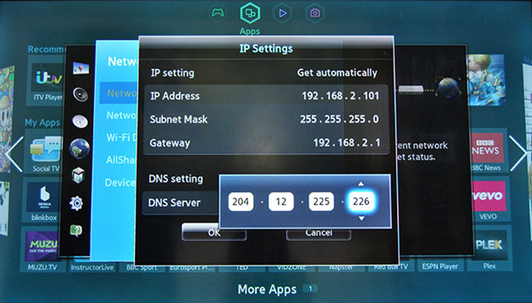 Samsung DNS settings