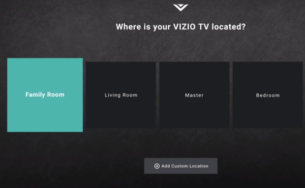 Selecting Family Room as TV name