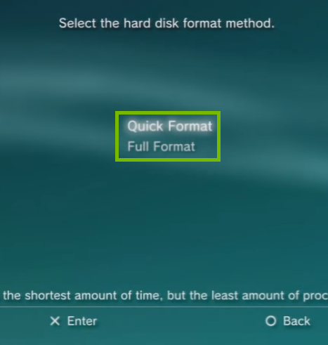 PS3 Menu with Quick and Full Format options highlighted. Screenshot