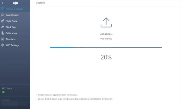 Drone battery update in progress.