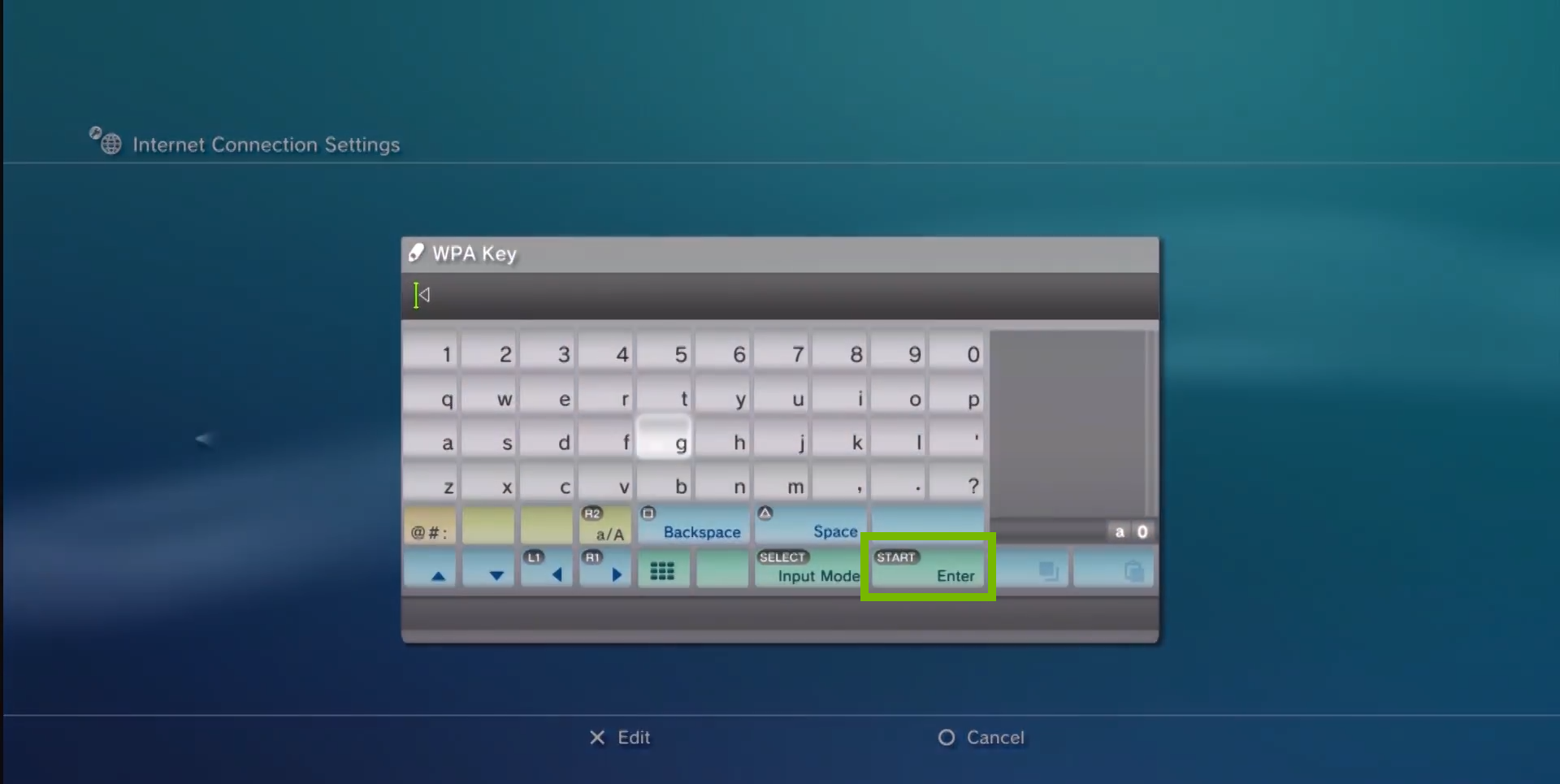 virtual keyboard with WPA key box where password is displayed and enter button is highlighted