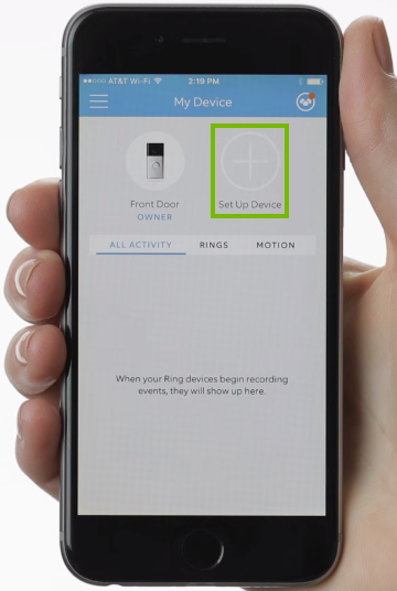 Ring app with set up device highlighted.