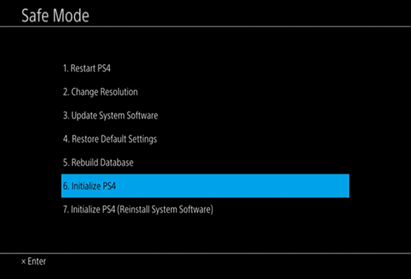 Safe Mode menu with Initialize highlighted.