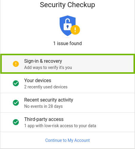 Google security checkup results with one item highlighted by a yellow circle with an exclamation mark in it.