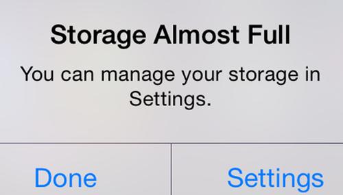 iOS storage full